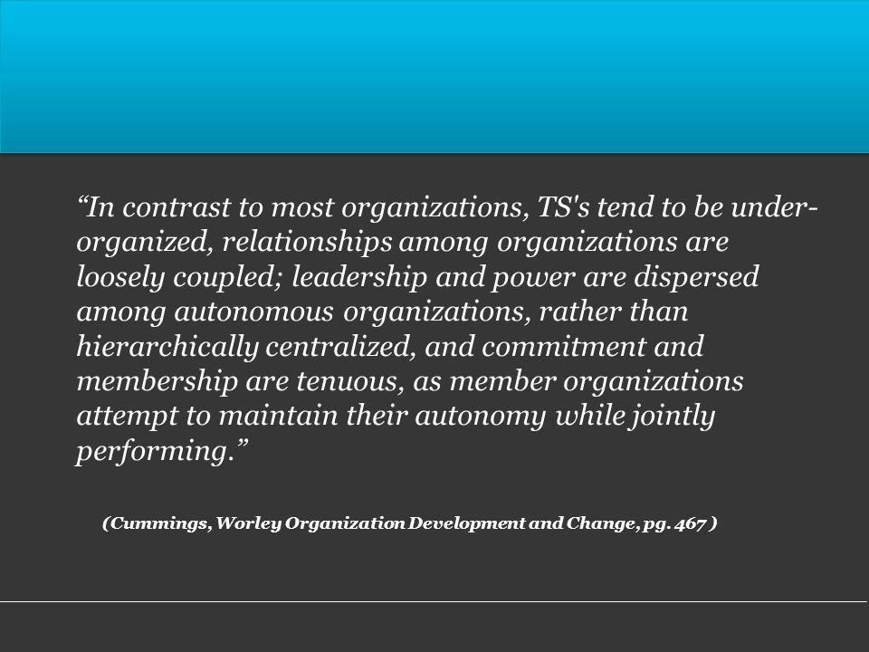 In contrast to most organizations, TS s tend to be under- organized, relationships among organizations are loosely coupled; leadership and power are dispersed among autonomous organizations, rather than hierarchically centralized, and commitment and membership are tenuous, as member organizations attempt to maintain their autonomy while jointly performing.
