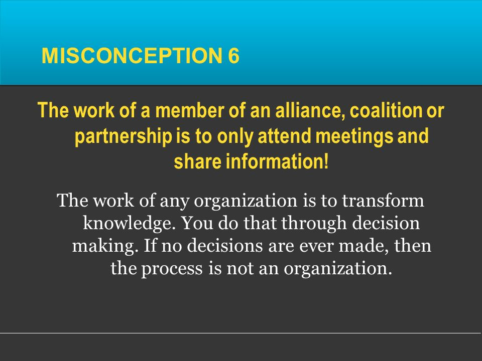 The work of any organization is to transform knowledge.