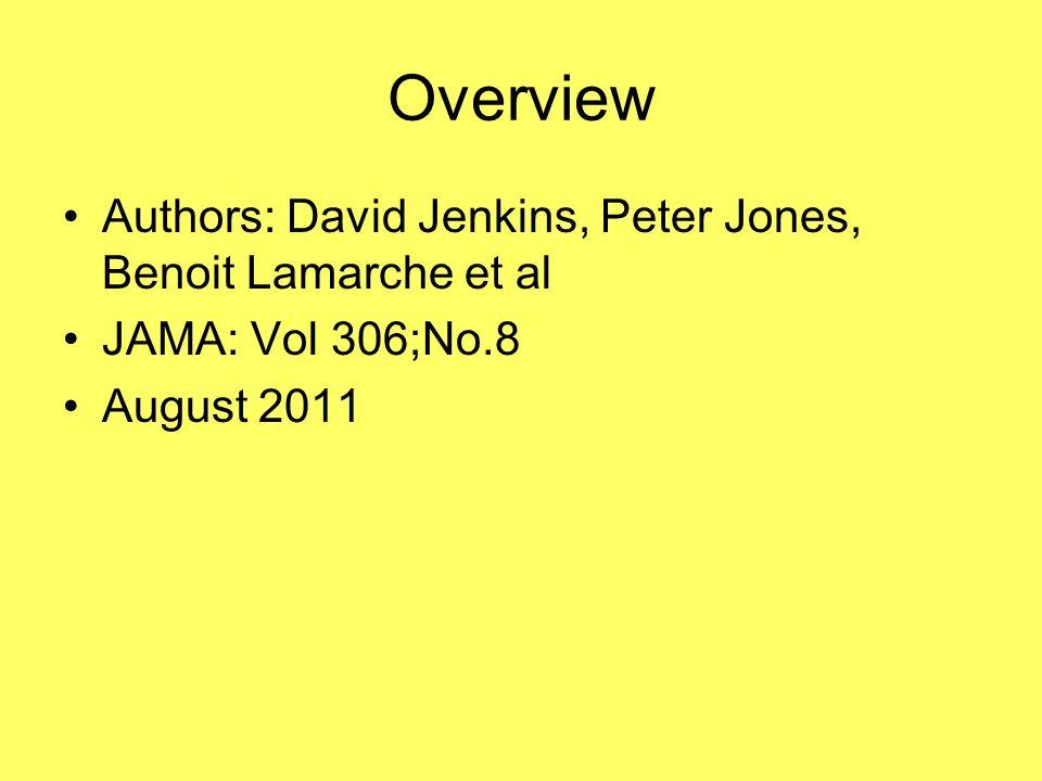 Overview Authors: David Jenkins, Peter Jones, Benoit Lamarche et al JAMA: Vol 306;No.8 August 2011
