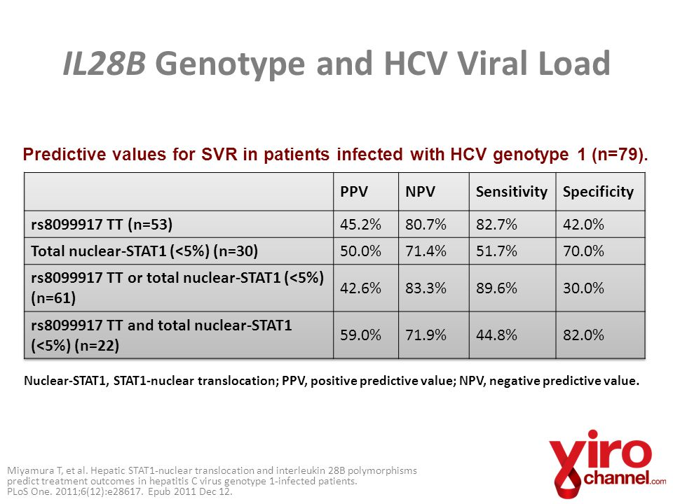 IL28B Genotype and HCV Viral Load Miyamura T, et al. Hepatic STAT1-nuclear translocation and interleukin 28B polymorphisms predict treatment outcomes