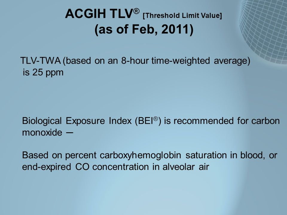 ACGIH TLV ® [Threshold Limit Value] (as of Feb, 2011) TLV-TWA (based on an 8-hour time-weighted average) is 25 ppm Biological Exposure Index (BEI ® )