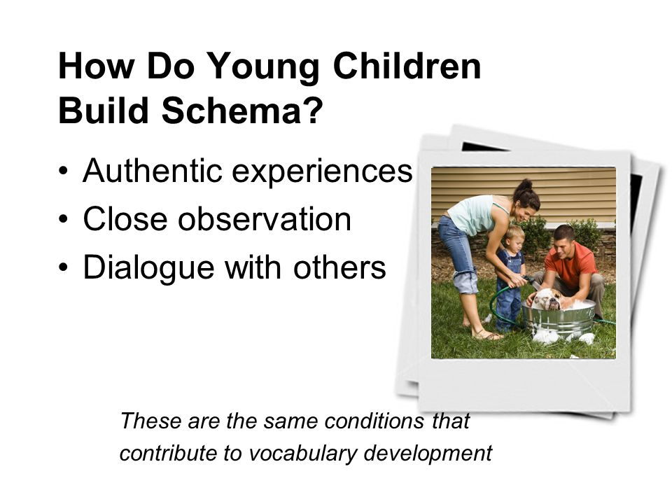 How Do Young Children Build Schema? Authentic experiences Close observation Dialogue with others These are the same conditions that contribute to voca