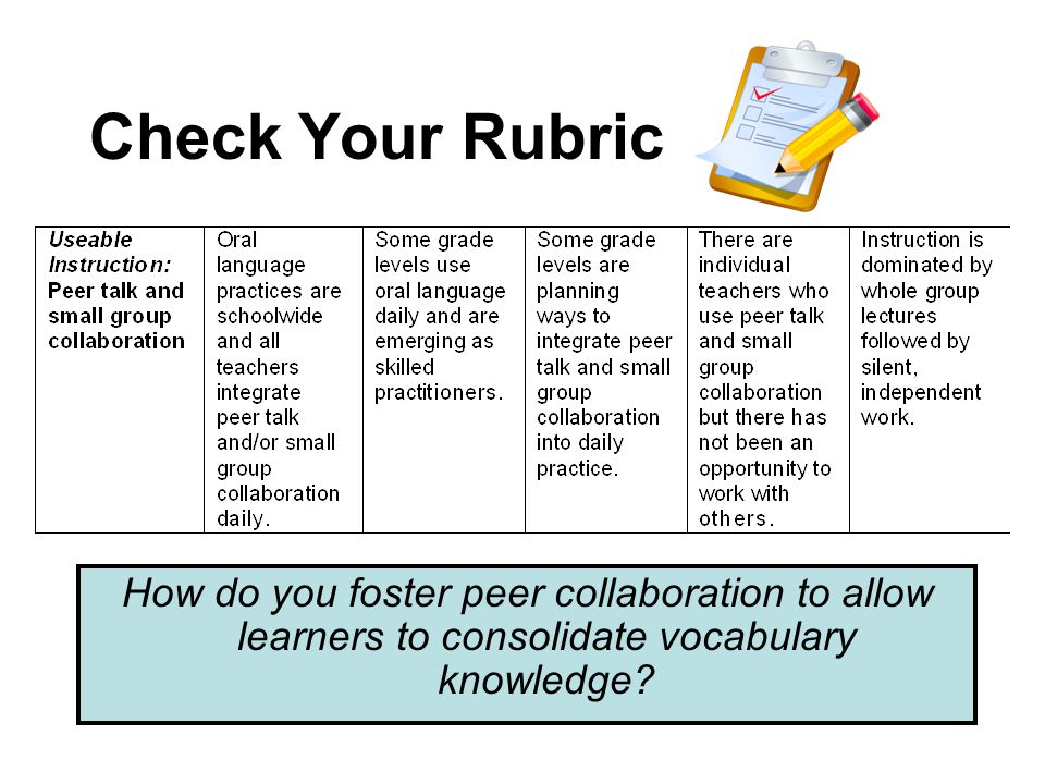 Check Your Rubric How do you foster peer collaboration to allow learners to consolidate vocabulary knowledge?