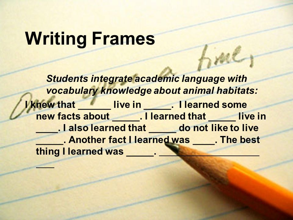 Writing Frames Students integrate academic language with vocabulary knowledge about animal habitats: I knew that ______ live in _____. I learned some