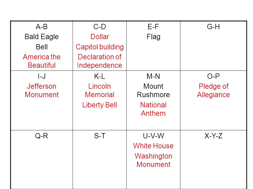 A-B Bald Eagle Bell America the Beautiful C-D Dollar Capitol building Declaration of Independence E-F Flag G-H I-J Jefferson Monument K-L Lincoln Memo