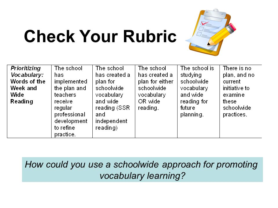 Check Your Rubric How could you use a schoolwide approach for promoting vocabulary learning?