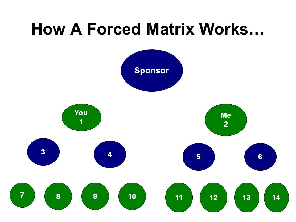 How A Forced Matrix Works… Sponsor You 1 Me 2 3 4 56 7 8910 11121314