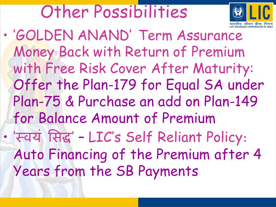 Other Possibilities GOLDEN ANAND Term Assurance Money Back with Return of Premium with Free Risk Cover After Maturity: Offer the Plan-179 for Equal SA