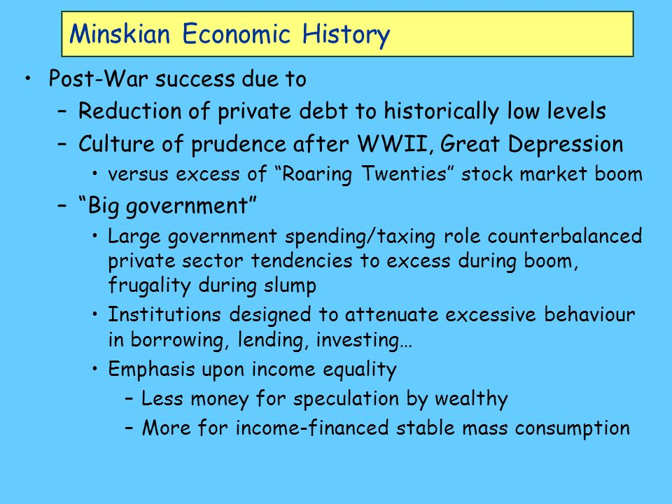 Minskian Economic History Post-War success due to –Reduction of private debt to historically low levels –Culture of prudence after WWII, Great Depression versus excess of Roaring Twenties stock market boom –Big government Large government spending/taxing role counterbalanced private sector tendencies to excess during boom, frugality during slump Institutions designed to attenuate excessive behaviour in borrowing, lending, investing… Emphasis upon income equality –Less money for speculation by wealthy –More for income-financed stable mass consumption