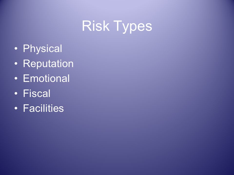 Risk Types Physical Reputation Emotional Fiscal Facilities