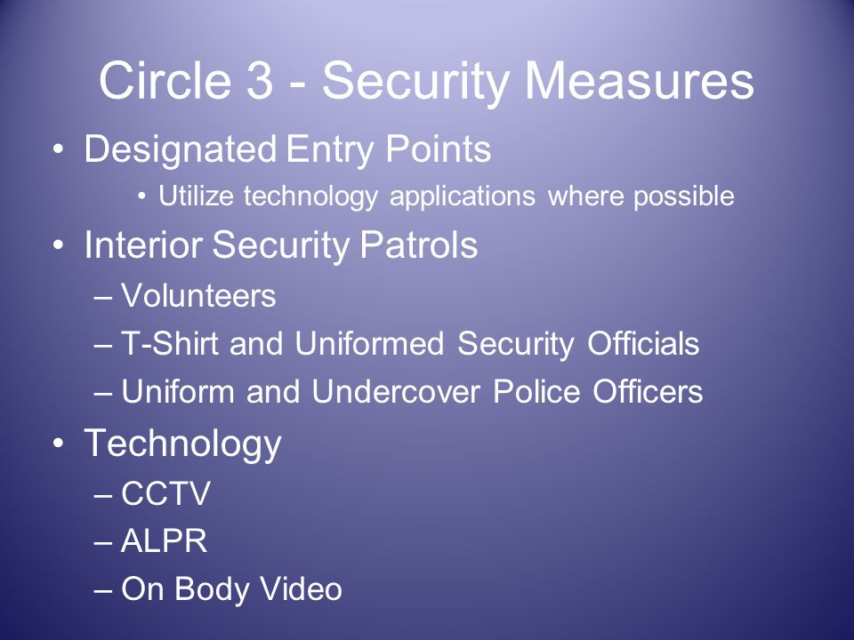 Circle 3 - Security Measures Designated Entry Points Utilize technology applications where possible Interior Security Patrols –Volunteers –T-Shirt and