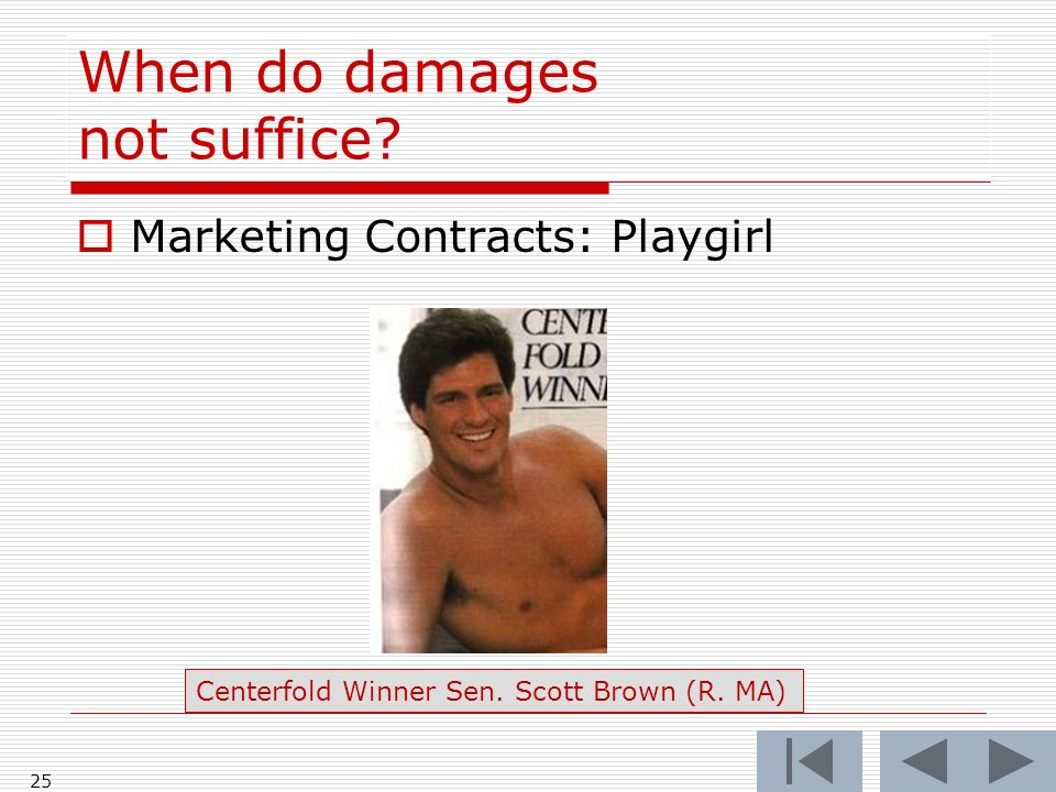When do damages not suffice. Marketing Contracts: Playgirl 25 Centerfold Winner Sen.