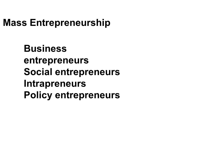 Business entrepreneurs Social entrepreneurs Intrapreneurs Policy entrepreneurs Mass Entrepreneurship