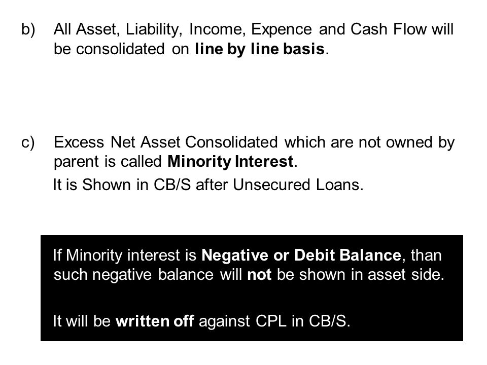 d)Unrealized Profit / Loss on Assets will be cancelled from Consolidated Statement.