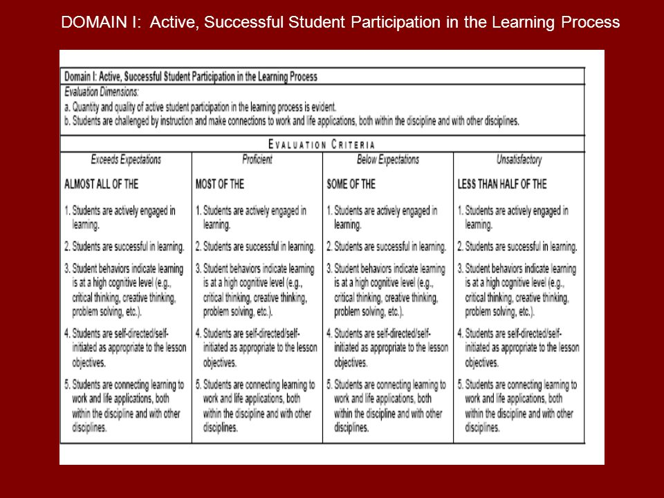 DOMAIN I: Active, Successful Student Participation in the Learning Process