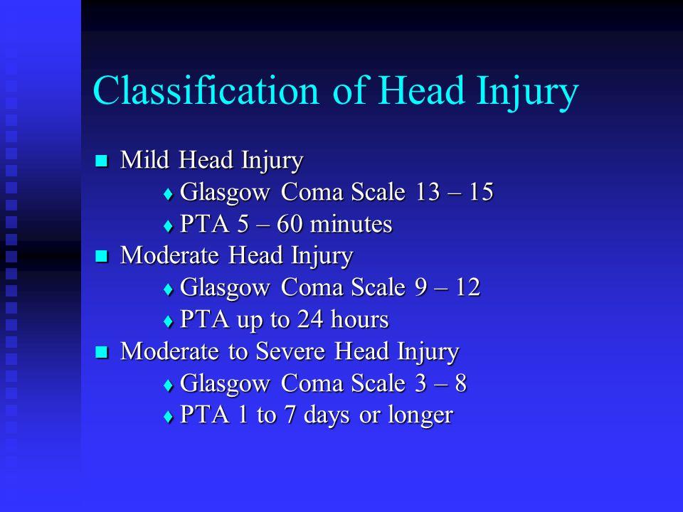 Classification of Head Injury Mild Head Injury Mild Head Injury Glasgow Coma Scale 13 – 15 Glasgow Coma Scale 13 – 15 PTA 5 – 60 minutes PTA 5 – 60 mi