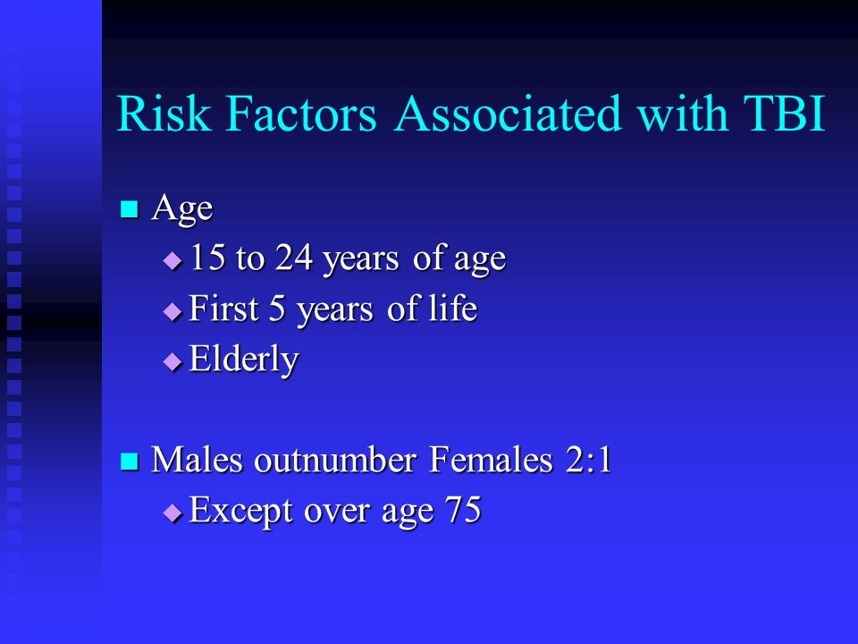 Risk Factors Associated with TBI Lower Socio-Economic Status Lower Socio-Economic Status Unemployment Unemployment Lower Education Lower Education Prior History of a Medical Condition Affecting the Central Nervous System Prior History of a Medical Condition Affecting the Central Nervous System Alcoholism or Substance Abuse Alcoholism or Substance Abuse History of Prior Head Injury History of Prior Head Injury