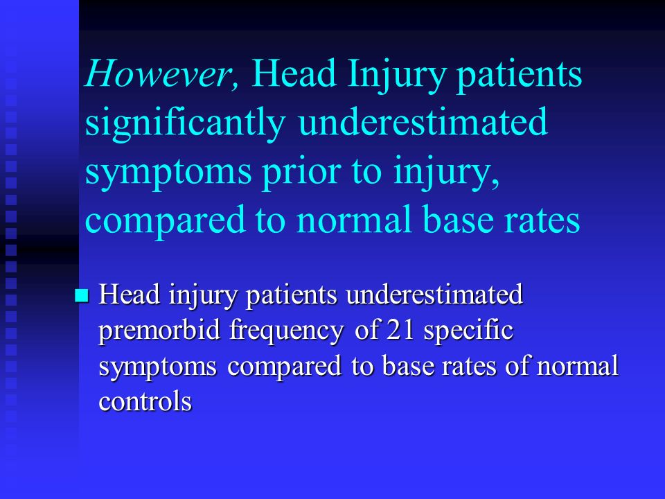 However, Head Injury patients significantly underestimated symptoms prior to injury, compared to normal base rates Head injury patients underestimated