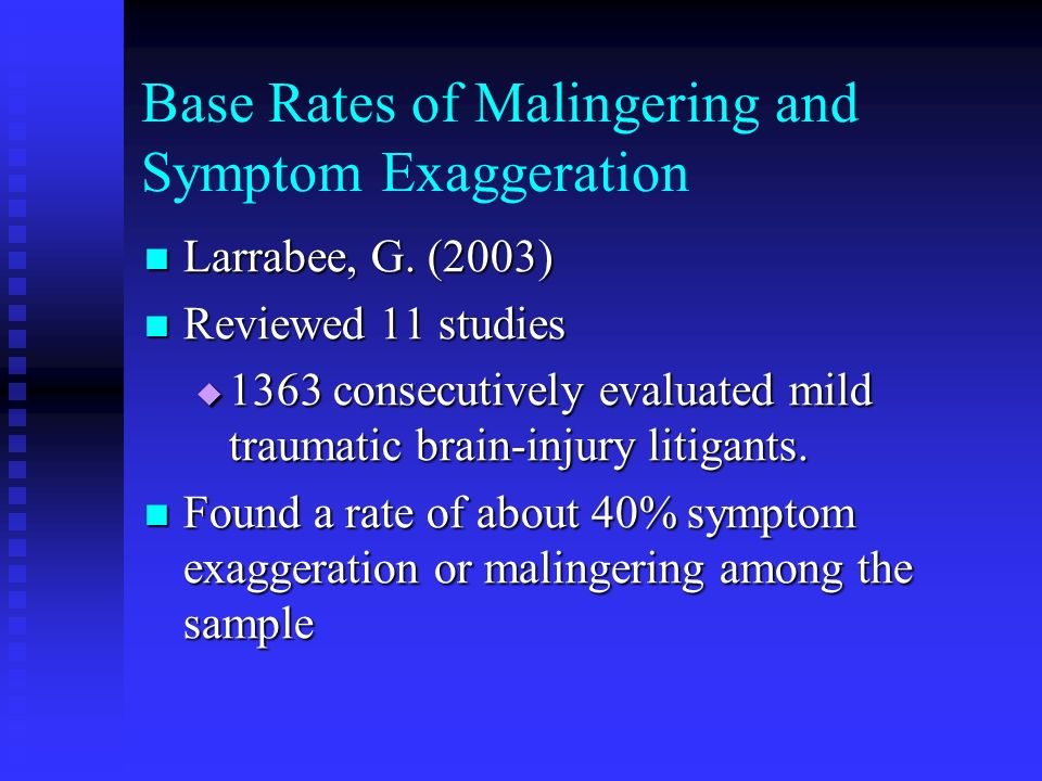 Base Rates of Malingering and Symptom Exaggeration Larrabee, G. (2003) Larrabee, G. (2003) Reviewed 11 studies Reviewed 11 studies 1363 consecutively