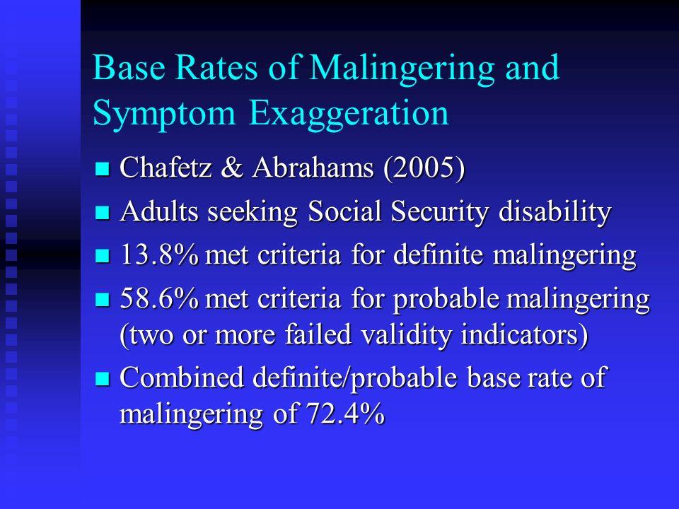 Base Rates of Malingering and Symptom Exaggeration Chafetz & Abrahams (2005) Chafetz & Abrahams (2005) Adults seeking Social Security disability Adult