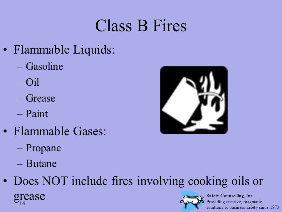 14 Class B Fires Flammable Liquids: –Gasoline –Oil –Grease –Paint Flammable Gases: –Propane –Butane Does NOT include fires involving cooking oils or g