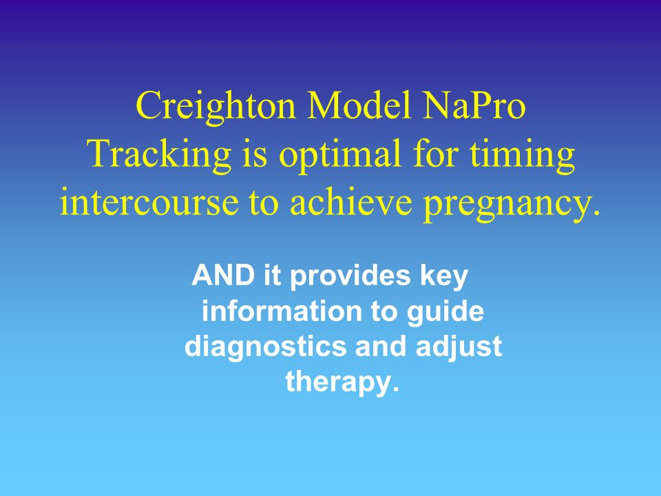 Creighton Model NaPro Tracking is optimal for timing intercourse to achieve pregnancy.
