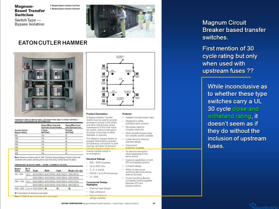 EATON CUTLER HAMMER Magnum Circuit Breaker based transfer switches. First mention of 30 cycle rating but only when used with upstream fuses ?? While i