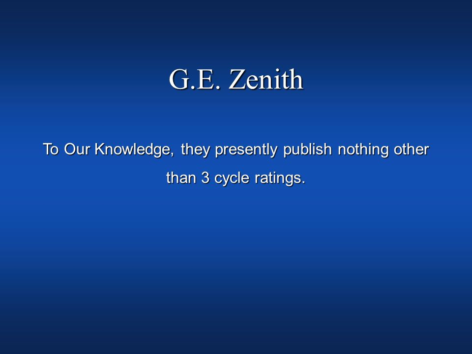 G.E. Zenith To Our Knowledge, they presently publish nothing other than 3 cycle ratings.