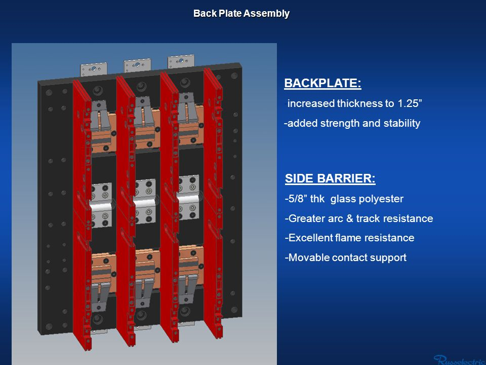 SIDE BARRIER: - -5/8 thk glass polyester - -Greater arc & track resistance - -Excellent flame resistance - -Movable contact support BACKPLATE: -increa
