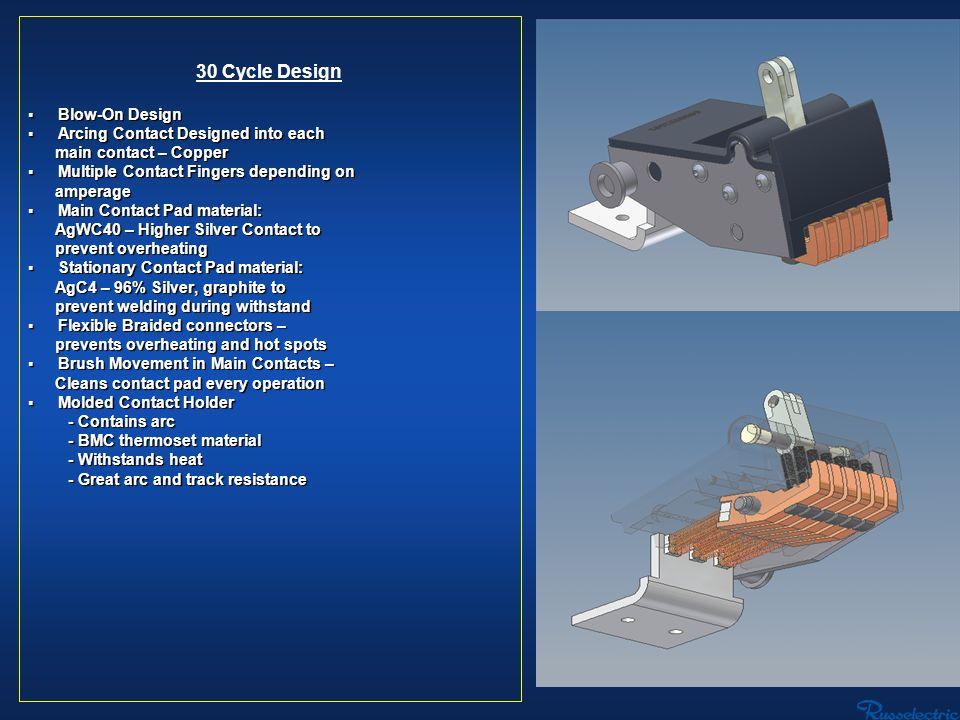 30 Cycle Design Blow-On Design Blow-On Design Arcing Contact Designed into each Arcing Contact Designed into each main contact – Copper main contact –