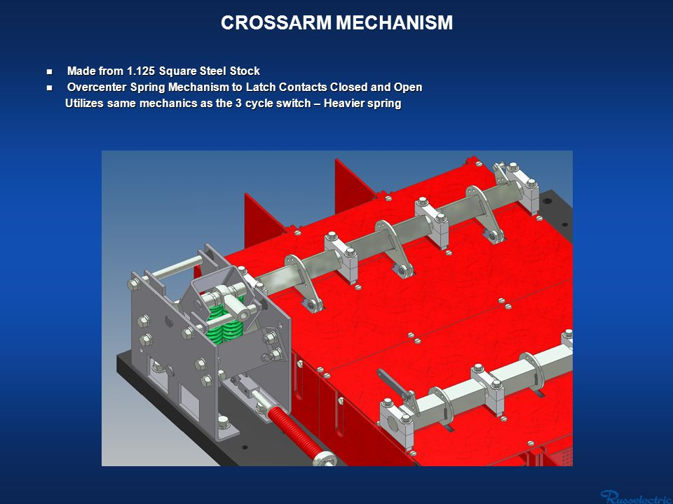 CROSSARM MECHANISM n Made from 1.125 Square Steel Stock n Overcenter Spring Mechanism to Latch Contacts Closed and Open Utilizes same mechanics as the