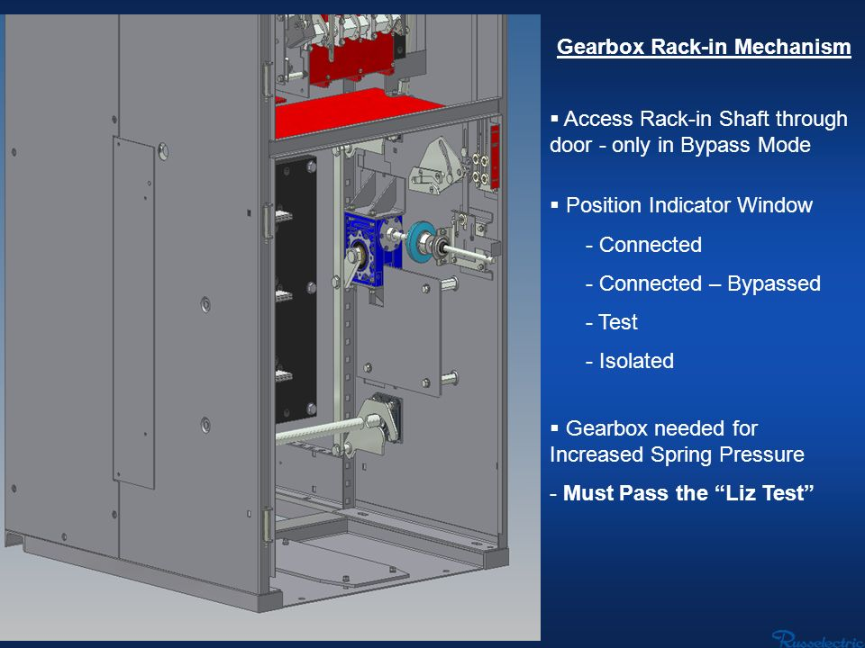 Gearbox Rack-in Mechanism Access Rack-in Shaft through door - only in Bypass Mode Position Indicator Window - Connected - Connected – Bypassed - Test