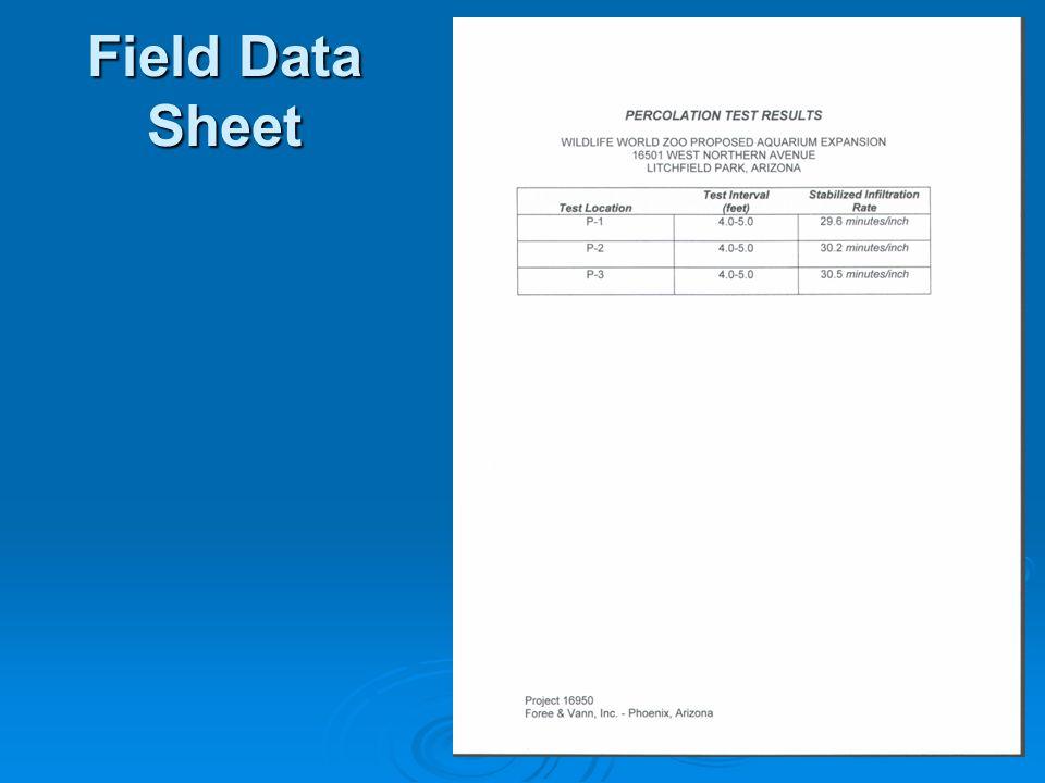 Field Data Sheet