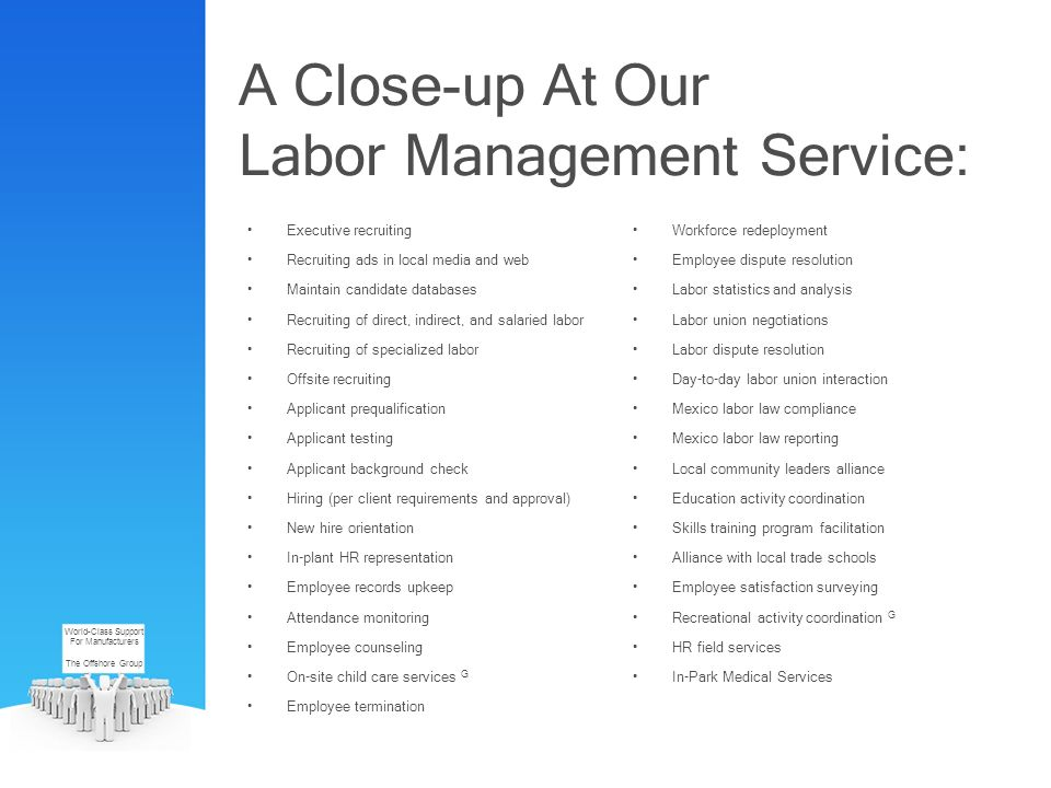 A Close-up At Our Labor Management Service: Executive recruiting Recruiting ads in local media and web Maintain candidate databases Recruiting of dire