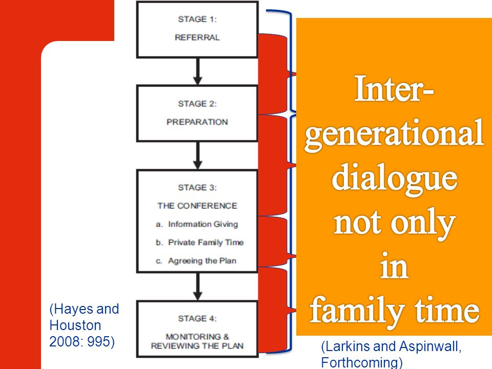 (Hayes and Houston 2008: 995) Getting ready Advocacy Information sharing to define focus Family time Putting the plan into action (Larkins and Aspinwa