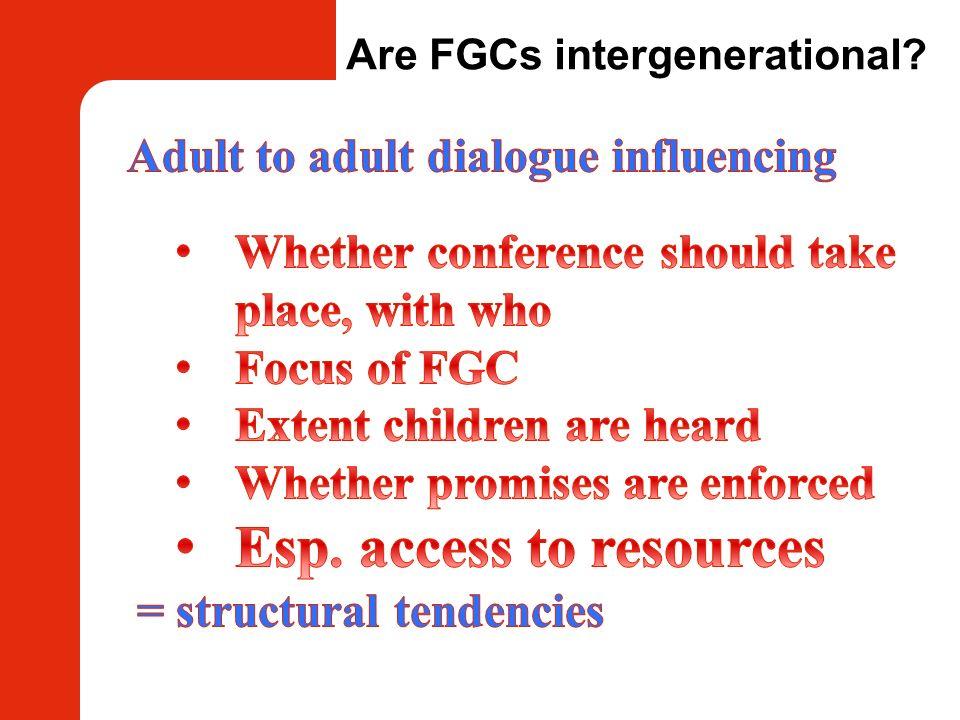 Are FGCs intergenerational?