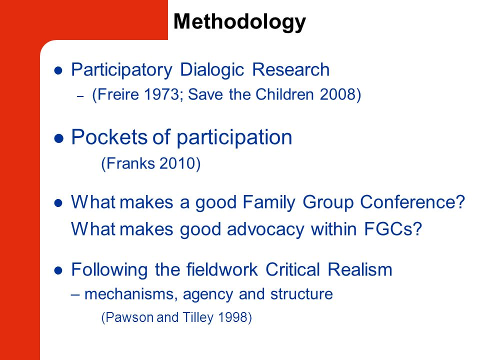 Methodology Participatory Dialogic Research – (Freire 1973; Save the Children 2008) Pockets of participation (Franks 2010) What makes a good Family Gr