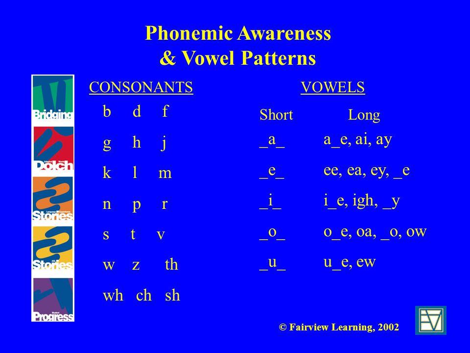 © Fairview Learning, 2002 Phonemic Awareness & Vowel Patterns CONSONANTSVOWELS b d f g h j k l m n p r s t v w z th wh ch sh Short Long _a_ a_e, ai, a