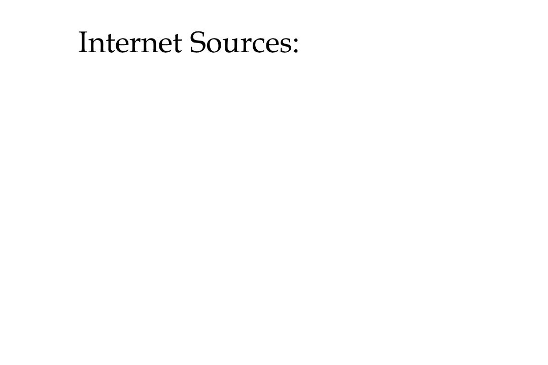 Internet Sources: