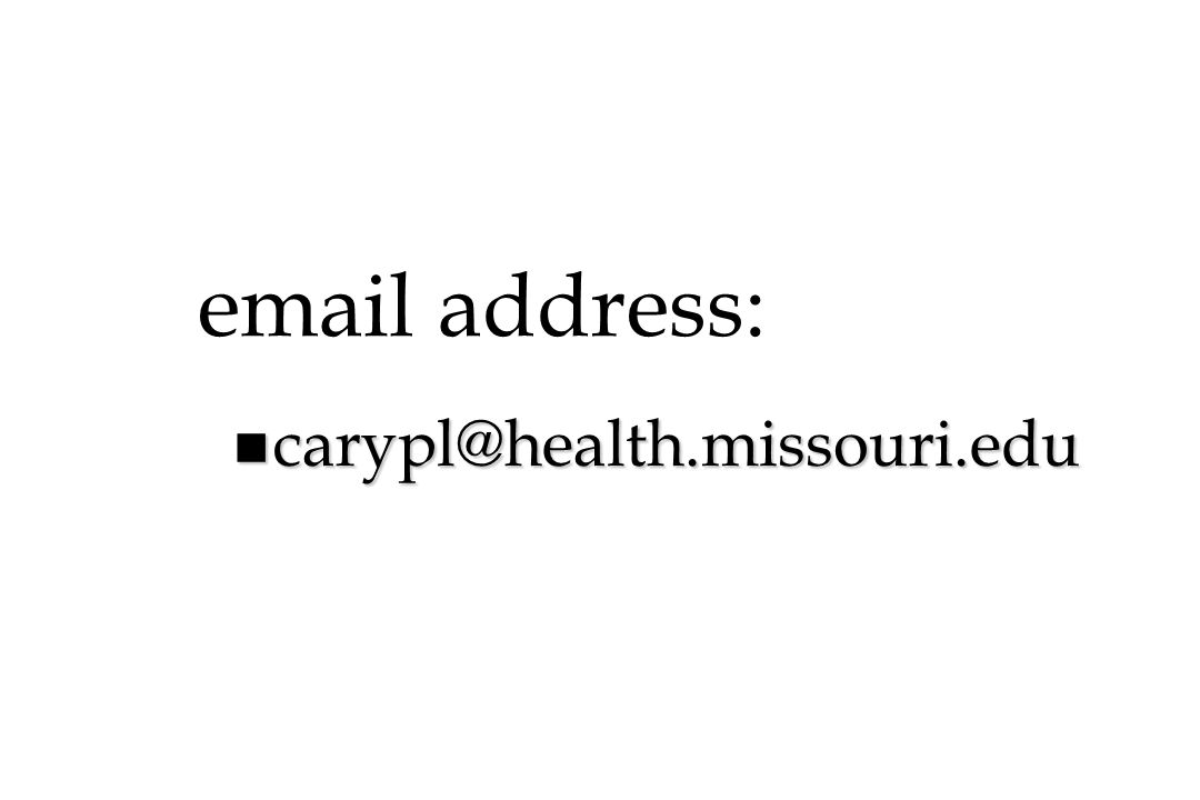 email address: n carypl@health.missouri.edu