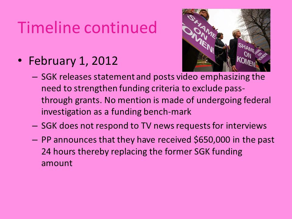 Timeline continued February 1, 2012 – SGK releases statement and posts video emphasizing the need to strengthen funding criteria to exclude pass- through grants.