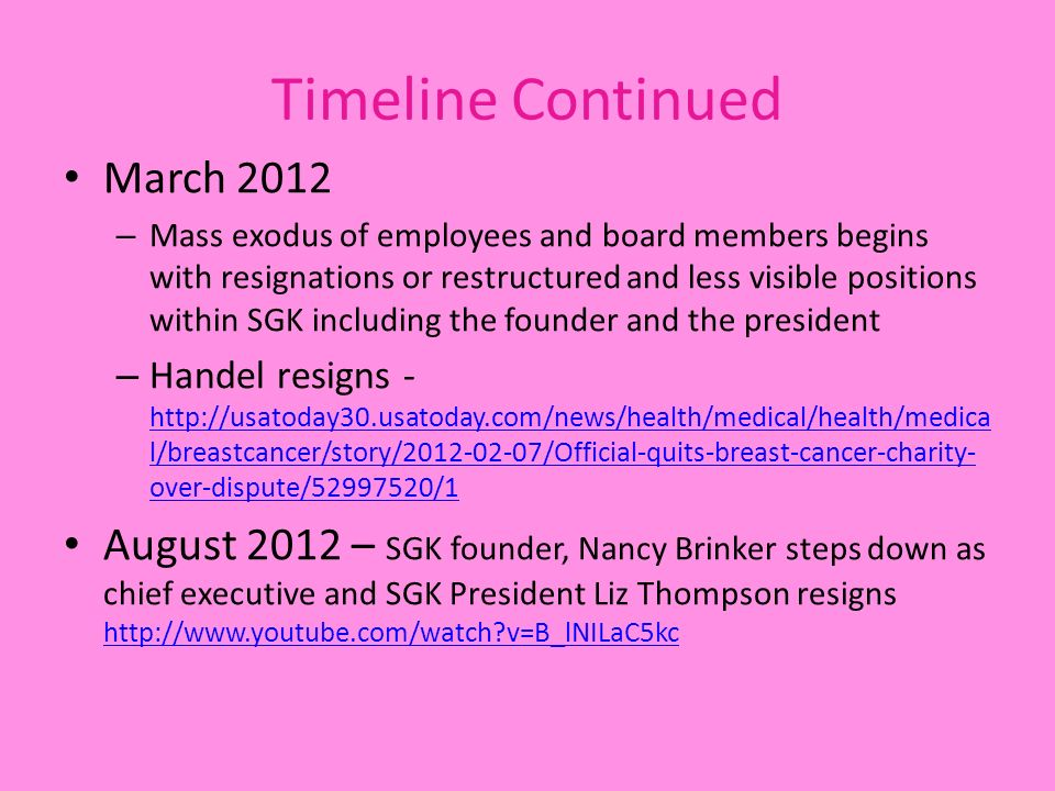 Timeline Continued March 2012 – Mass exodus of employees and board members begins with resignations or restructured and less visible positions within SGK including the founder and the president – Handel resigns - http://usatoday30.usatoday.com/news/health/medical/health/medica l/breastcancer/story/2012-02-07/Official-quits-breast-cancer-charity- over-dispute/52997520/1 http://usatoday30.usatoday.com/news/health/medical/health/medica l/breastcancer/story/2012-02-07/Official-quits-breast-cancer-charity- over-dispute/52997520/1 August 2012 – SGK founder, Nancy Brinker steps down as chief executive and SGK President Liz Thompson resigns http://www.youtube.com/watch v=B_lNILaC5kc http://www.youtube.com/watch v=B_lNILaC5kc