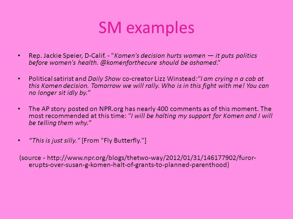 SM examples Rep. Jackie Speier, D-Calif.
