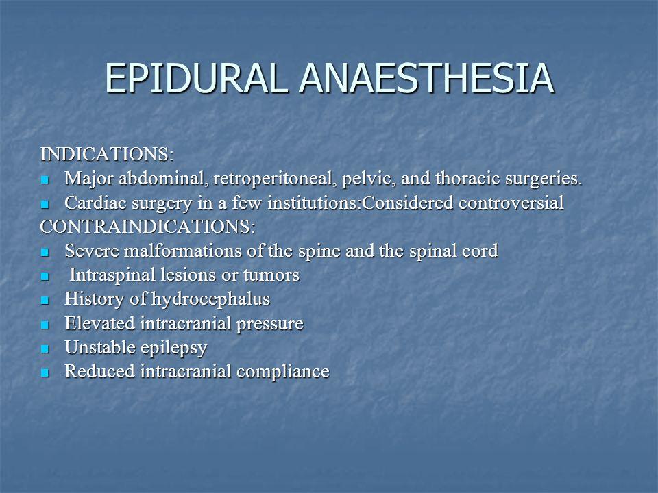 EPIDURAL ANAESTHESIA INDICATIONS: Major abdominal, retroperitoneal, pelvic, and thoracic surgeries. Major abdominal, retroperitoneal, pelvic, and thor
