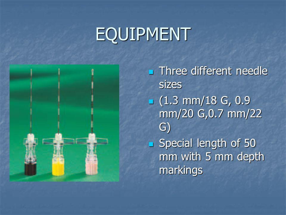 EQUIPMENT Three different needle sizes Three different needle sizes (1.3 mm/18 G, 0.9 mm/20 G,0.7 mm/22 G) (1.3 mm/18 G, 0.9 mm/20 G,0.7 mm/22 G) Spec