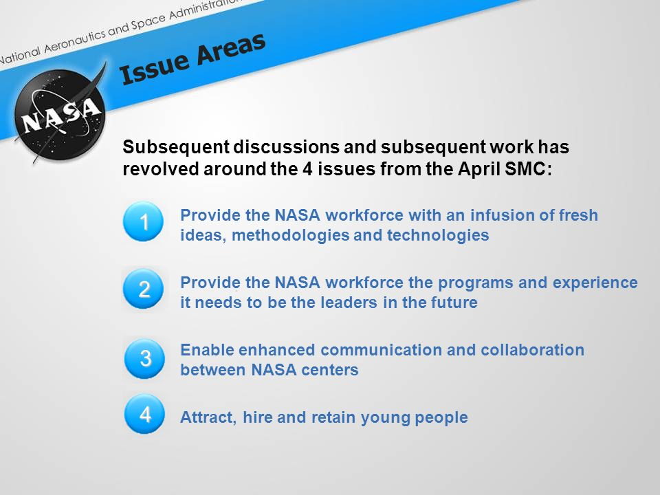 Issue Areas Subsequent discussions and subsequent work has revolved around the 4 issues from the April SMC: Provide the NASA workforce with an infusion of fresh ideas, methodologies and technologies Provide the NASA workforce the programs and experience it needs to be the leaders in the future Enable enhanced communication and collaboration between NASA centers Attract, hire and retain young people 1 2 3 4