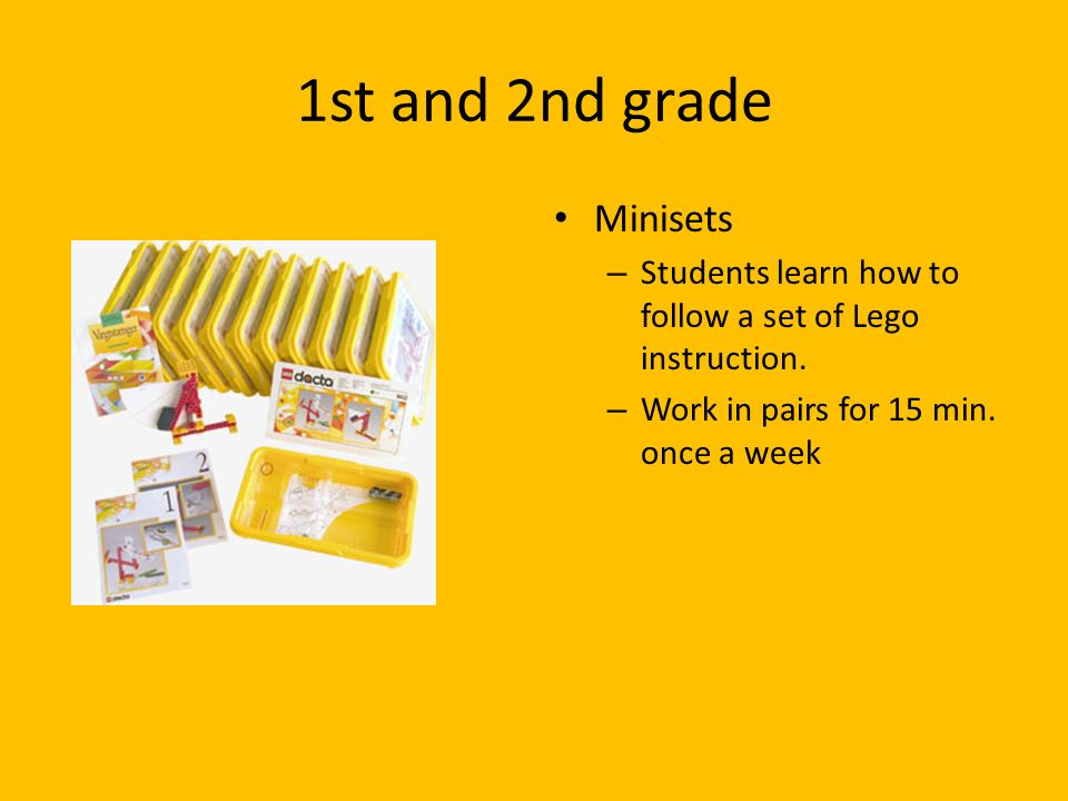 1st and 2nd grade Minisets – Students learn how to follow a set of Lego instruction. – Work in pairs for 15 min. once a week
