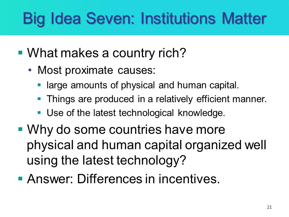 Big Idea Seven: Institutions Matter What makes a country rich? Most proximate causes: large amounts of physical and human capital. Things are produced