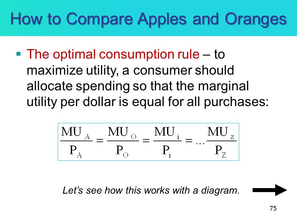 How to Compare Apples and Oranges The optimal consumption rule – to maximize utility, a consumer should allocate spending so that the marginal utility