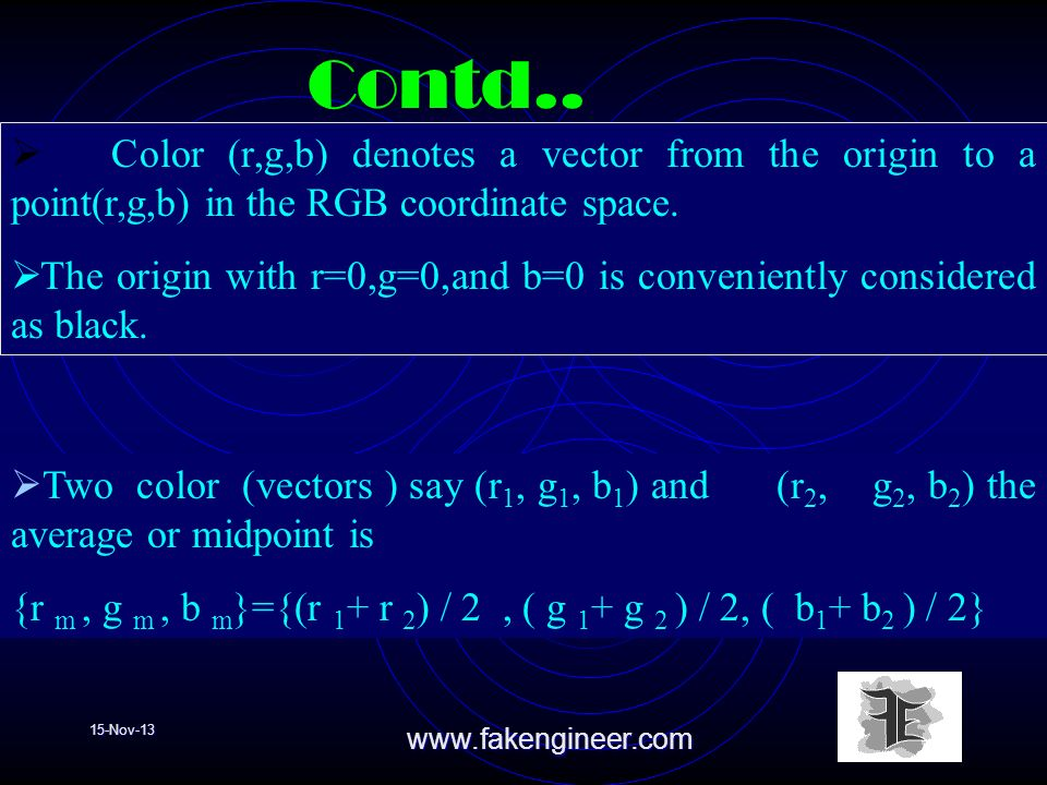 15-Nov-13www.fakengineer.com Color (r,g,b) denotes a vector from the origin to a point(r,g,b) in the RGB coordinate space. The origin with r=0,g=0,and